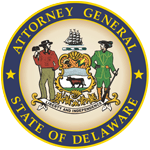 Logo for the attorney general for the state of Delaware with two men and a crest.
