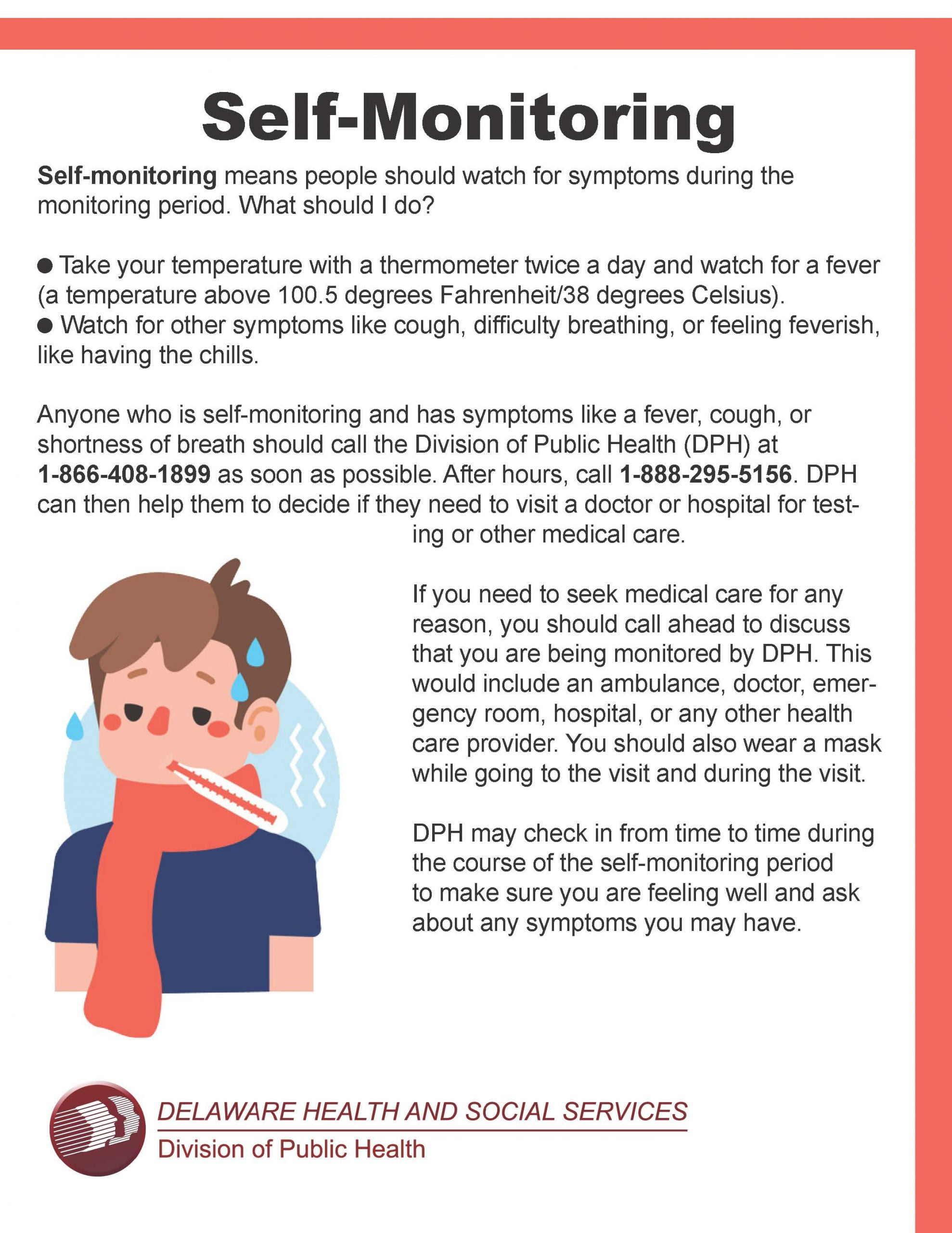 Document outlining self-monitoring for COVID-19 by the Delaware Health and Social Services Division of Public Health.