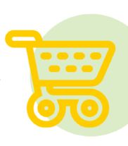 Icon of a yellow shopping cart representing SnapBenefits.