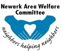 Logo for the Newark Area Welfare Committee with two blue hands forming a heart.